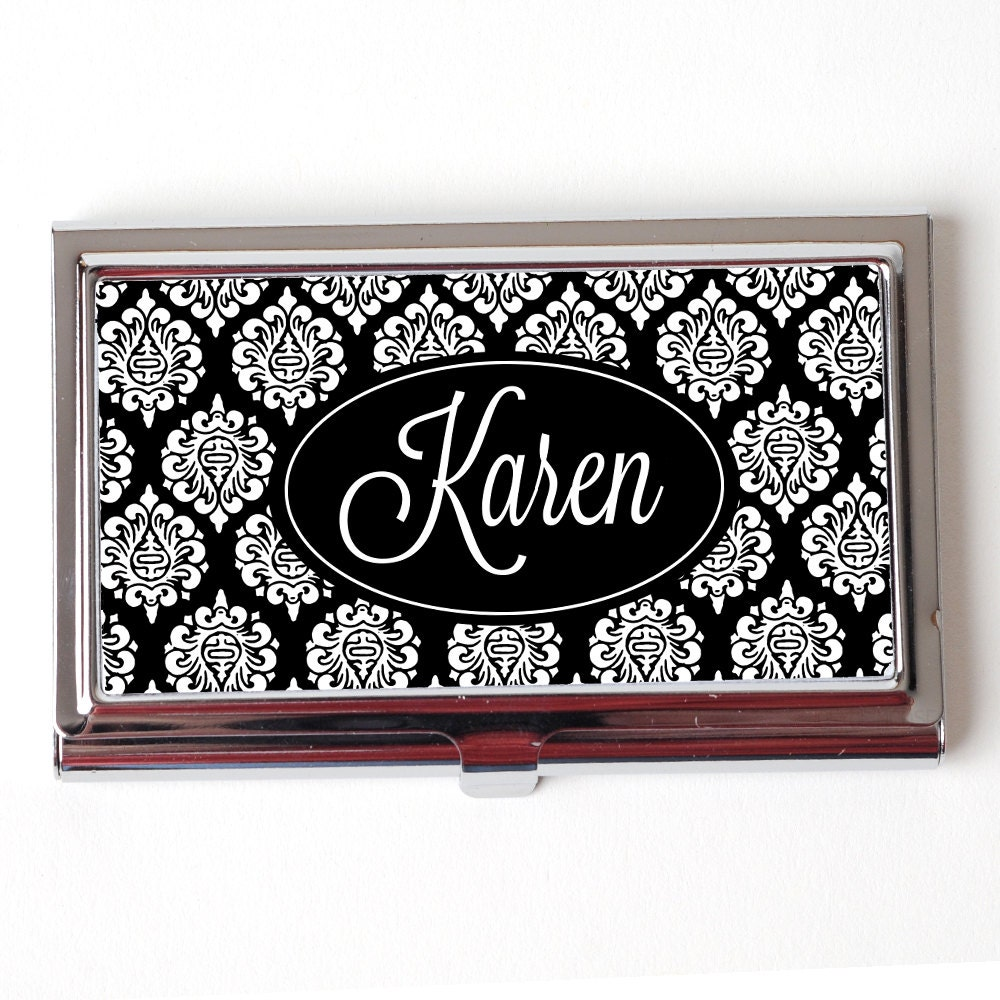 Elegant Black Personalized Business Card Case Personalized