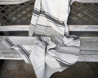 Pure Linen blanket / French striped coverlet