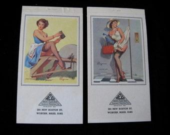 Vintage Elvgren Pin Up Calendar Pads 1971 March, April