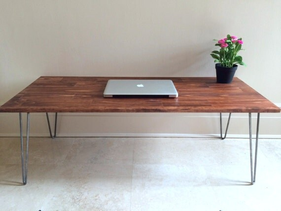 Hairpin Coffee Table In Red Oak Stain Rustic By Goldenrulenyc