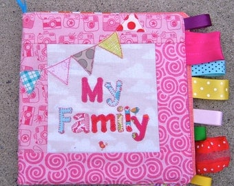 Custom Personalized Fabric Family Photo Soft Book for Baby/Toddler   Great First Birthday Gift.
