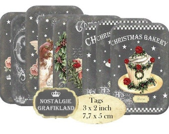 Christmas Chalkboard Santa Claus Cupcakes Bakery Angels Tags Download digital collage sheet T138
