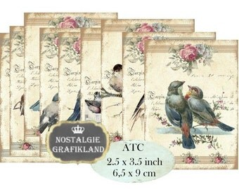 Shabby Chic Birds  Instant Download ATC digital collage sheet S158