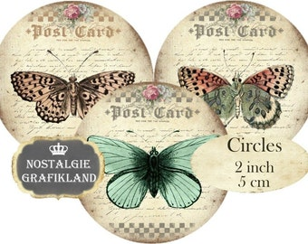 Butterflies Papillon Butterfly Circles 2 inch Vintage Instant Download digital collage sheet C136