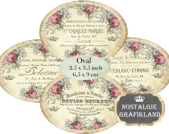 Sewing Shabby Chic Labels Lace Dentelles Tulle Logo Needlework Ovals 3.5 x 2.5 inch Download digital collage sheet O152