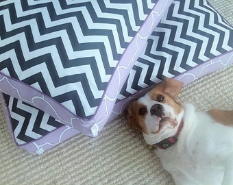 Dog Bed Cover - 'Fuzzy' design - Black White Chevron & Lilac - 1 only (S)