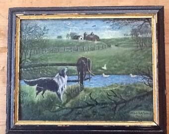 Vintage Folk Art Farm Painting