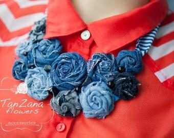 FREE Shipping !!! denim necklace, denim necklace, denim jewelry, denim, blue jewelry, jeans jewelry, handmade