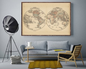 "World Map, Vintage 1862 hemispheres world map reprint - home decor -4 large/XL sizes up to 54""x36""-in two colors"
