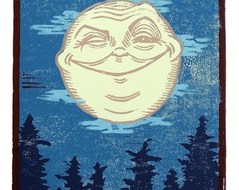 Man In The Moon/Original Linocut Print/8 x 10/Handpulled