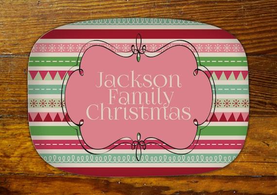 Personalized Serving Platter-Christmas Stripe