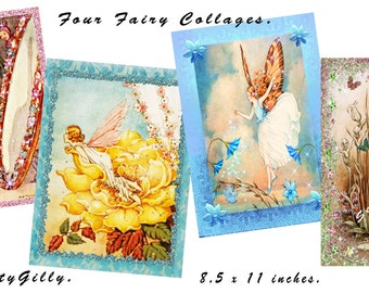 Four Fairies Collage pack. (8.5 x 11 inches. (DOWNLOAD)