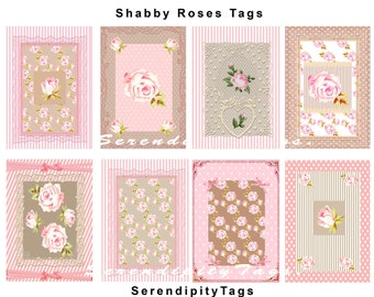 Shabby Roses Tags (8.5 x 11 inch collage)