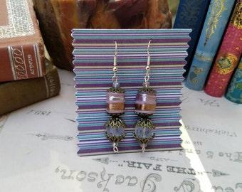 Artisan Lampwork Glass Dangle Drop Earrings with Quartz