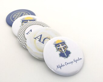 Alpha Omega Epsilon Bottle Opener Keyrings, Pocket Mirrors and Magnets