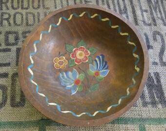 Hand Painted Dark Wooden Bowl