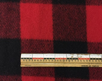 "Woolrich(R) brushed wool coating by the yard | style 5410-402 | 3"" red black buffalo check plaid fabric 