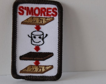 S'mores patch - smores smiling marshmallow cute camping cookout scout summer scout fun