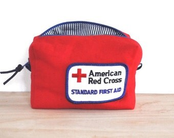 First Aid pouch / Small First Aid Bag made from Duck Canvas with Vintage Patch / American Red Cross First Aid Pouch / medicine bag