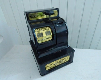 Uncle Sam's 3-Coin Register Bank - Mechanical Black Metal Bank - Tested Works Beautifully - Savings Bank Made by Western Stamping Corp.