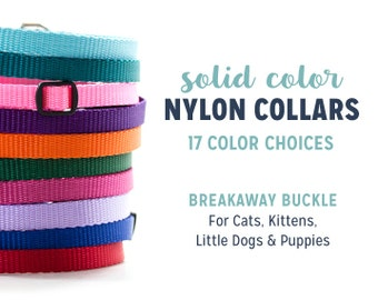 Simple Nylon Collar with Breakaway Buckle // Cat or Little Dog Collar // 3/8 inch width // 16 Color Choices