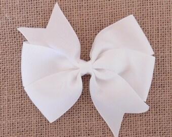 """White Pinwheel Bow  4 1/2"""""""