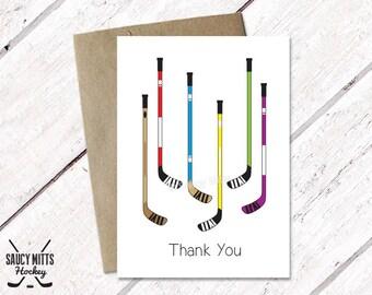 Hockey Thank You Card - Hockey Sticks