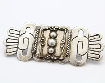 Vintage Sterling Silver Mayan Tribal Style Handmade Brooch Mexico 980. [6614]