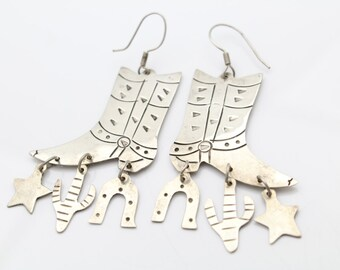 Vintage Dangle Earrings of Cowboy Boots and Western Charms in Sterling Silver. [9286]