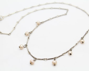 "Vintage Bar-Link 16"" Collier with Freshwater Pearl Dangles in Sterling Silver. [9446]"