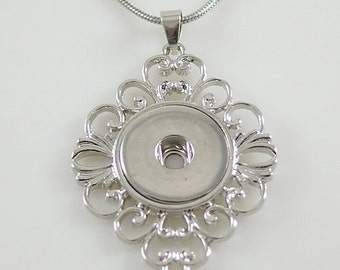 KB3361 Oval Filigree Silver Pendant for Snap-It/Ginger Charms ~ With or Without Chain