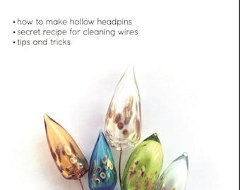 Lampwork tutorial - hollow headpins by Janna Petrovna / beadmaking / wire wrap / PDF file