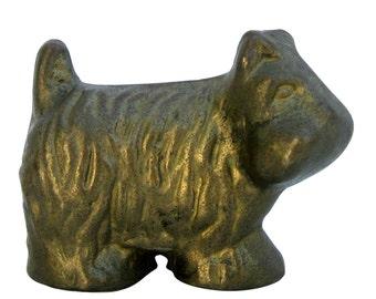 Vintage Brass Scottish Terrier/ Westie Figurine, Scotty Dog Collectible