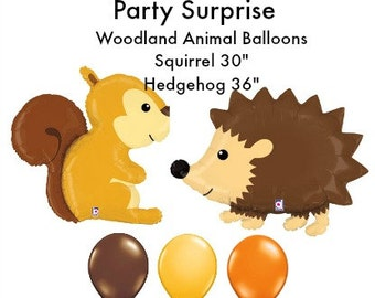 Woodland Party Balloons Squirrel Balloon Hedgehog Balloon Baby Shower Kids Birthday Party Animal Balloons