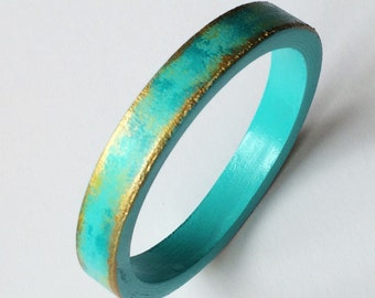 Turquoise and Gold wooden bangle