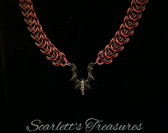 Vampires Kiss Chainmaille necklace and earrings set.