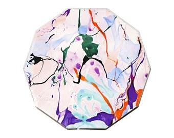Marble Paper Plates by Meri Meri (Large) / Toot Sweet / Modern Chic Rainbow Dinner Plate Hexagon ...