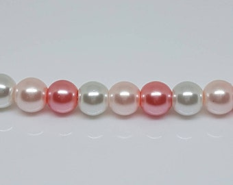 6mm Glass Pearl Bead Mix - White, Light Pink, Pink. Quantity: 16.   White Pearl Beads. Light Pink Pearl Beads. Pink Pearl Beads.