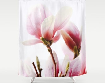 shabby chic shower curtain magnolia print floral decor pink shower curtain cottage