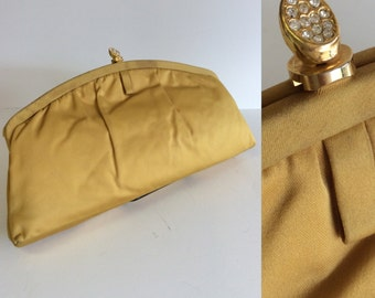 GLAM in GOLD Vintage 50s 60s Satin Evening Bag Clutch Purse with Rhinestone Clasp