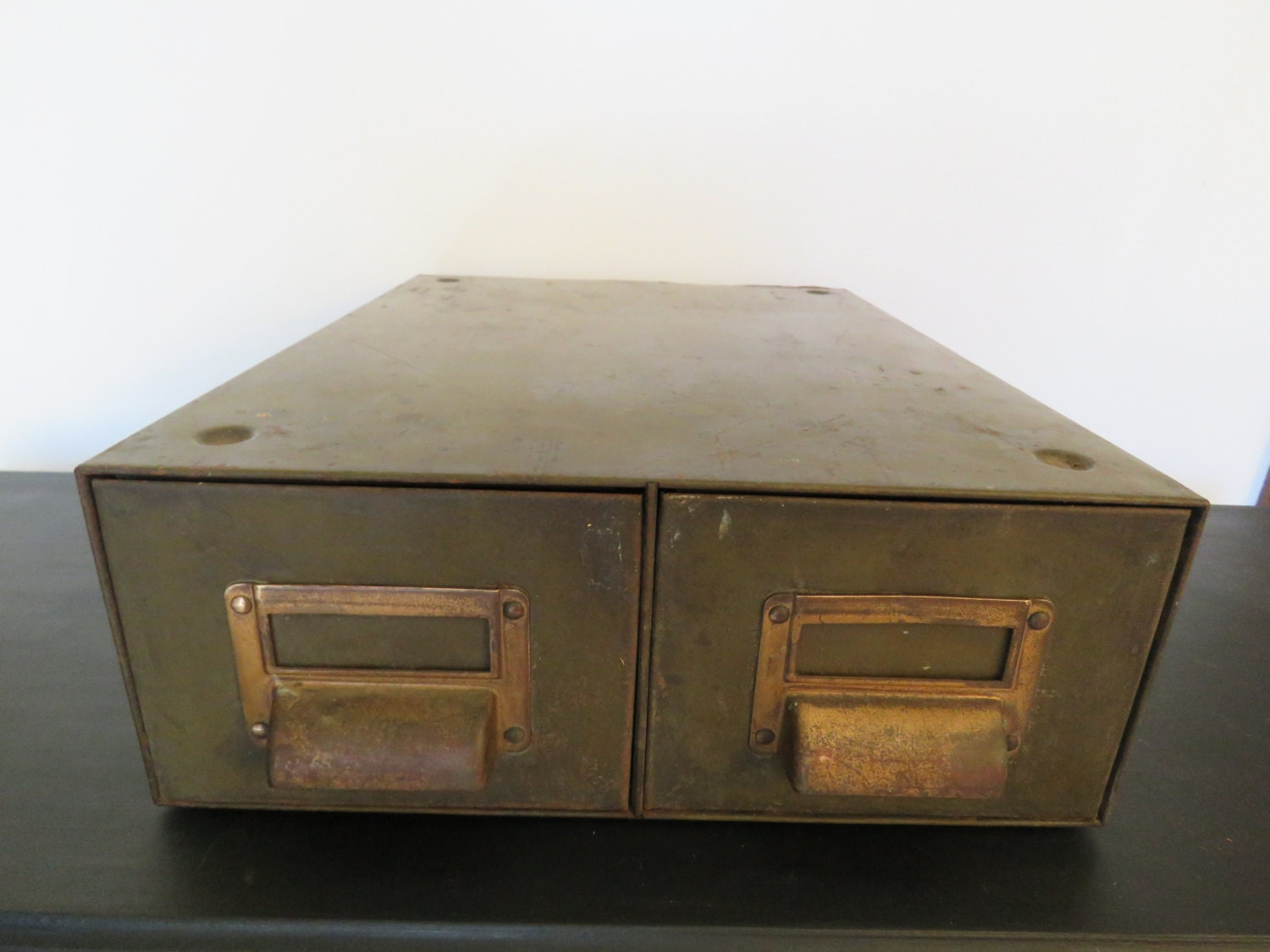 Art Metal Industrial File Box 2 Drawer Olive Army Green