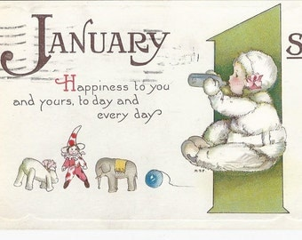 Beautiful 1921 Happy New Year Embossed Postcard Signed Margaret Evans Price