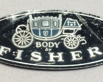 Vintage Body by Fisher Metal Tag Plaque 1960's Logo General Motors GM Cars