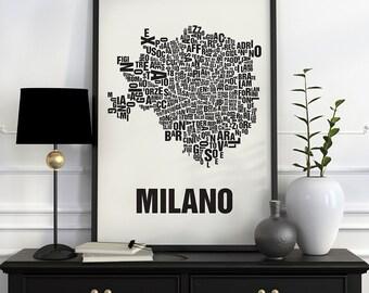 Milan Typographic Map Screen Print
