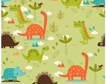 Dino Main Green Duck Canvas by Riley Blake