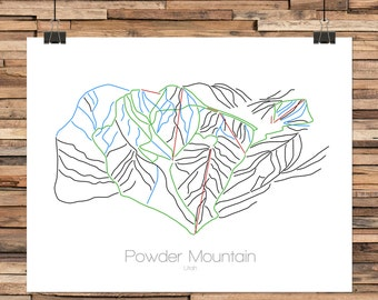 Powder Mountain Utah - Modern Ski Trail Map - Line Drawing