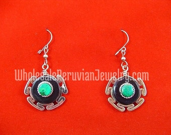 Ethnic Bull's Horn Turquoise Stone Inca Earrings Peruvian Jewelry- Handmade in Peru