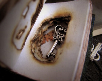 Miniature book necklace witch grimoire pendant book of shadow magic tiny secret antique key yule gift idea romantic gothic wiccan pagan