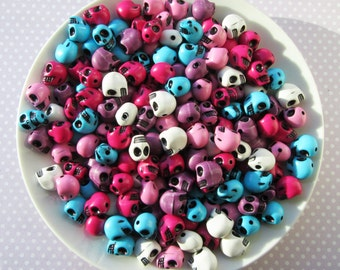 30g Of Mixed Colourful Acrylic Skull Beads 12x11mm Approx 36 Pieces Hot Pink, Light Pink, White, Purple, Turquoise