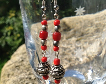Silver Earrings with Tibetan Sterling Silver Bead and Red Glass Beads